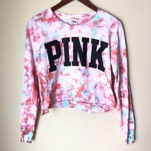 Victoria's Secret Pink Tie Dye Crop L/S T-shirt